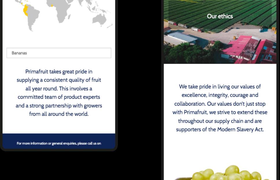 Primafruit Mobile Web Site