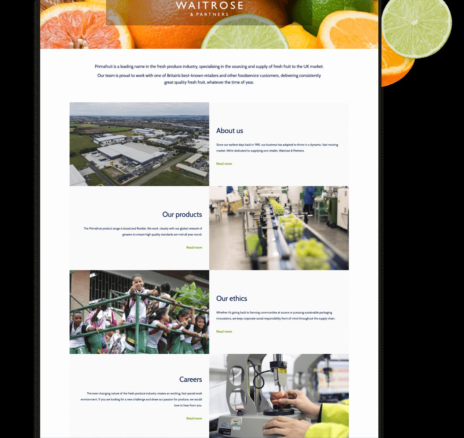 Primafruit Web Site