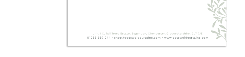 Cotswold Curtains Compliments Slip